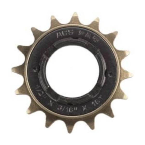 Afbeelding van ACS freewheel FAT 16T BMX 1/2 x 3/16 inch zwart/goud