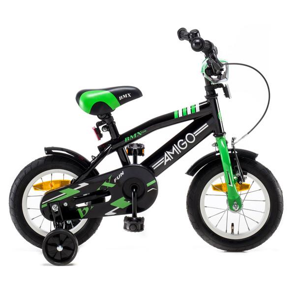 AMIGO BMX Fun 12 Inch 21 cm Jongens Terugtraprem Zwart/Groen