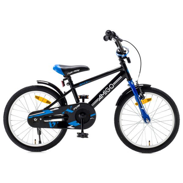 Afbeelding van AMIGO BMX Fun 18 Inch 24 cm Jongens Terugtraprem Zwart/Blauw