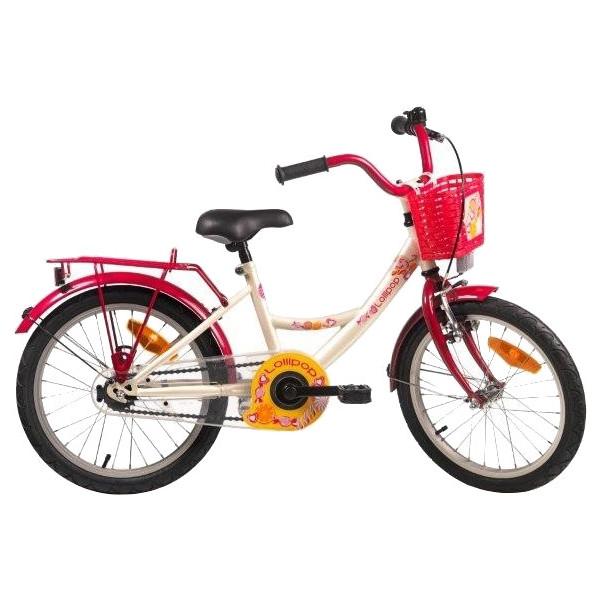 Bike Fun Lollipop 16 Inch 22 cm Meisjes Terugtraprem Cr�me/Rood