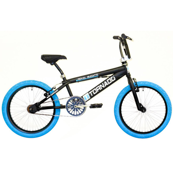 Bike Fun Tornado 20 Inch 55 cm Junior V Brake Matzwart/Blauw