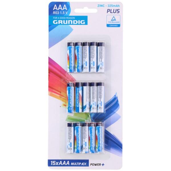 Grundig batterijen R03 AAA zink 15 stuks