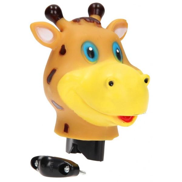 Johntoy fietstoeter giraffe oranje/bruin 9 cm thumbnail