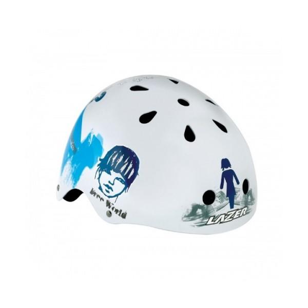 Lazer Helm One Trashy Wit Blauw Glossy Maat 58 62 cm