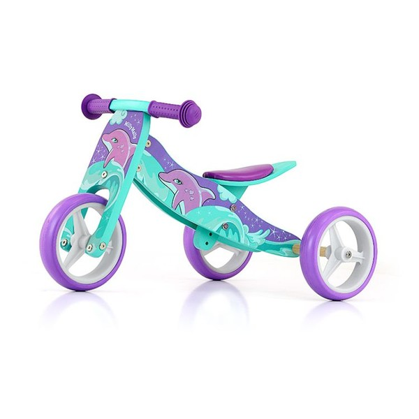 Milly Mally 2 in 1 loopfiets Jake Dolfijn Junior Paars/Groen
