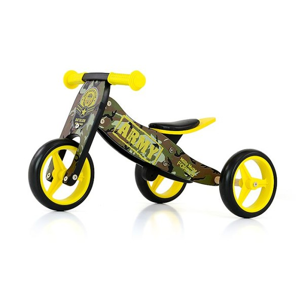 Milly Mally 2 in 1 loopfiets Jake Army Junior Legergroen/Geel