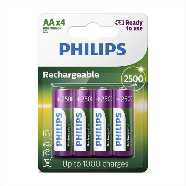 Philips Rechargeables Battery AA, 2500mAh Nickel-Metal Hydride 4-blister (R6B4RTU25-10)