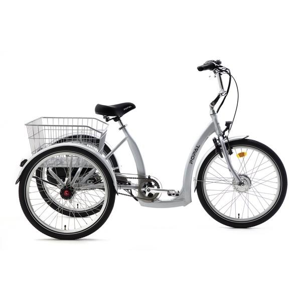 Popal E Luxe driewieler 24 Inch 43 cm Unisex 7V Rollerbrake Zilver