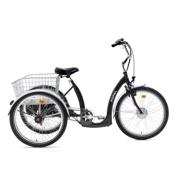 Popal E Luxe driewieler 24 Inch 43 cm Unisex 7V Rollerbrake Zwart