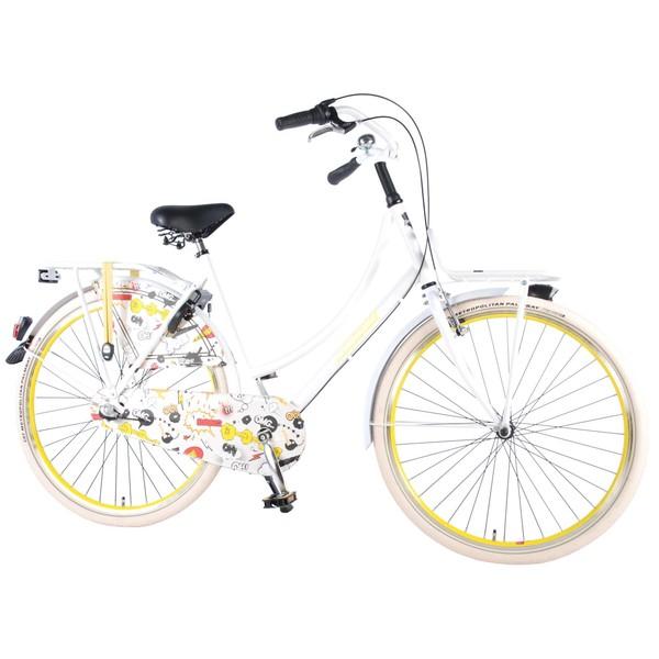 Salutoni Omafiets Cartoon met Shimano Nexus 3 28 inch wit en geel
