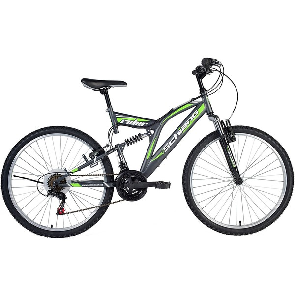 Schiano Rider FS 24 Inch 41 cm Jongens 18V V Brake Antraciet/Groen