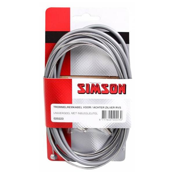 Simson tr remkabelset v-a RVS zilver