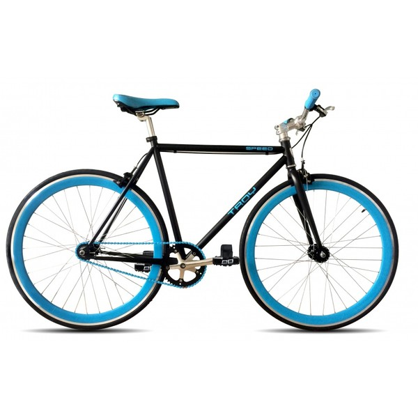 Troy Speed 28 Inch 53 cm Heren V Brake Matzwart/Blauw