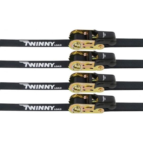 Twinny Load spanbanden met haak en ratel 5 meter zwart 4 stuks