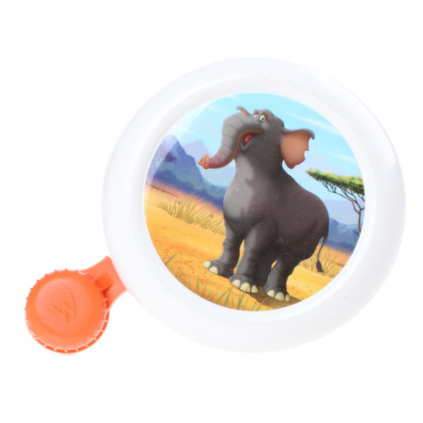 Widek fietsbel Animal Kingdom 50 mm olifant wit