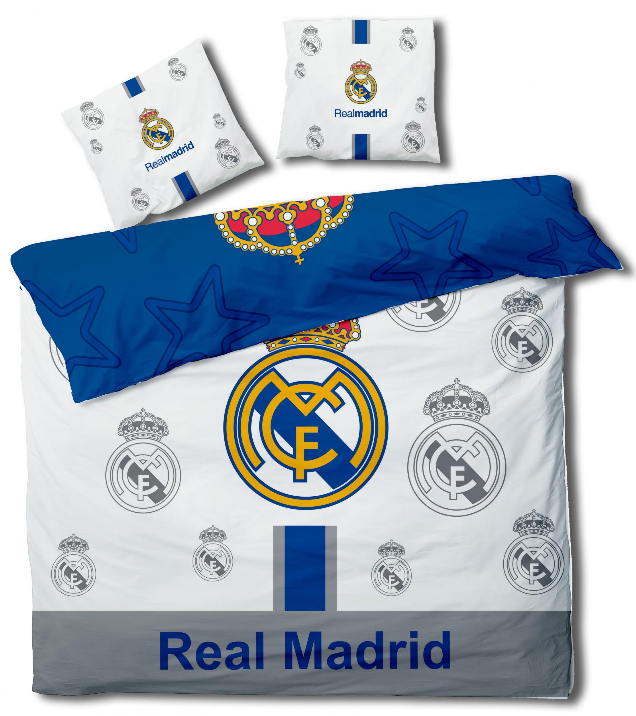 Blauw Wit Dekbedovertrek.Real Madrid Dekbedovertrek Real Madrid Wit Blauw 240 X 220 Cm Giga