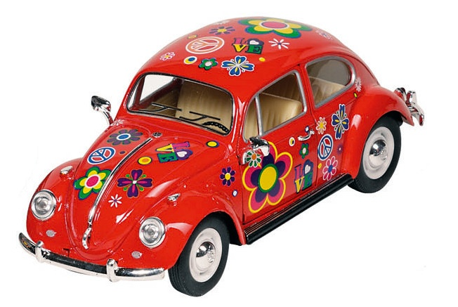 Welly Metals Volkswagen Beetle Flowers 17 Cm Red