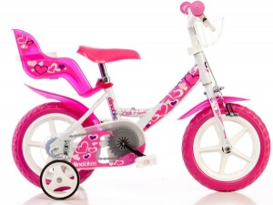 Dino 124RLN-05LH Little Heart 12 Inch 21 cm Meisjes V-Brake Wit
