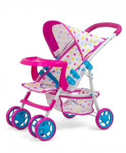 Milly Mally poppenwagen Kate Candy 54 cm roze/blauw