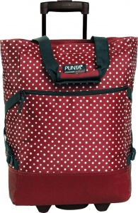 Punta trolley shopper Wheel Print stippen rood 33 liter