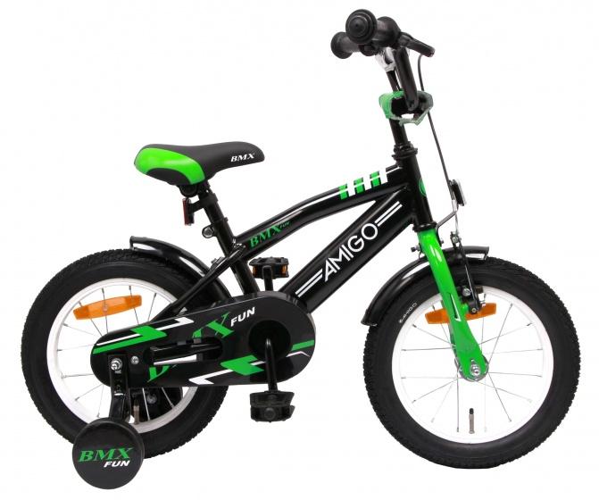 AMIGO BMX Fun 14 Inch 21 cm Jongens Terugtraprem Zwart/Groen