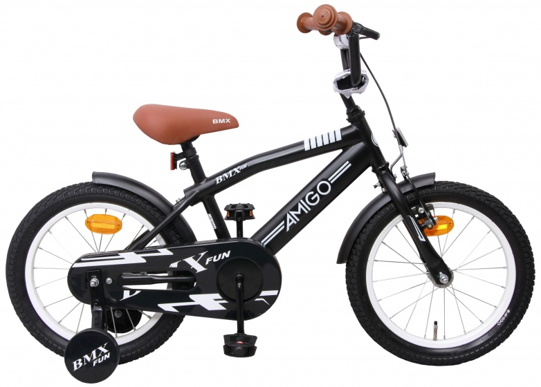 AMIGO BMX Fun 16 Inch 28 cm Jongens Terugtraprem Matzwart