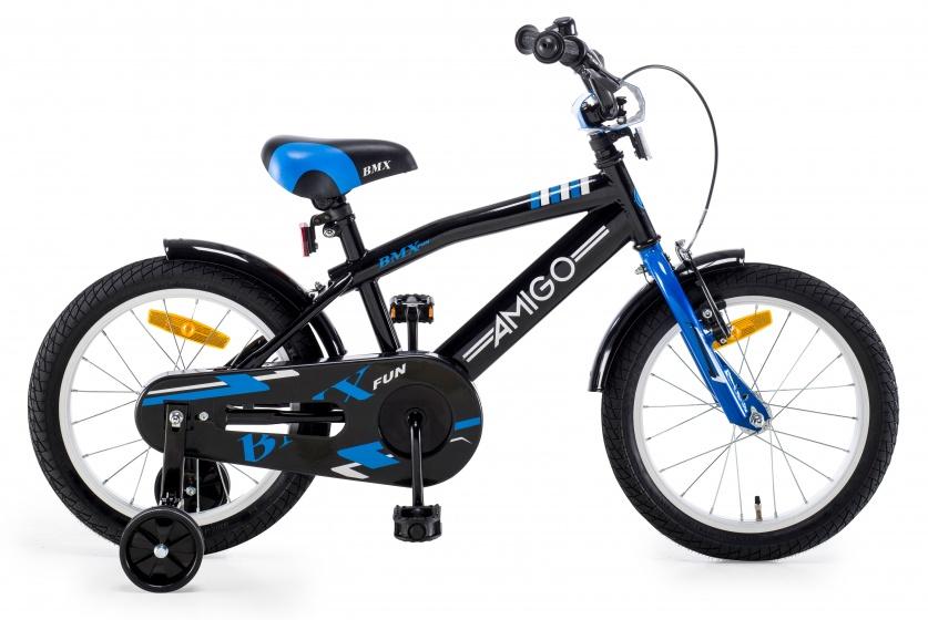 AMIGO BMX Fun 16 Inch 27 cm Jongens Terugtraprem Zwart/Blauw