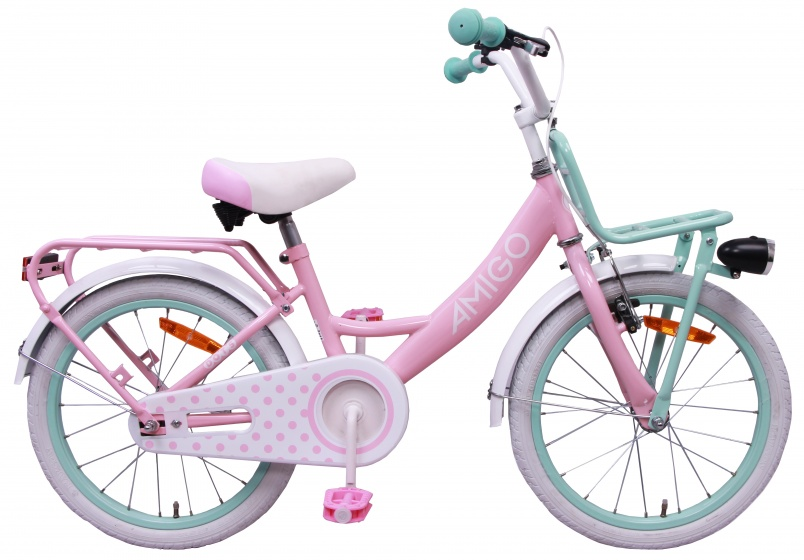 AMIGO Dots 20 Inch 28 cm Meisjes Terugtraprem Roze