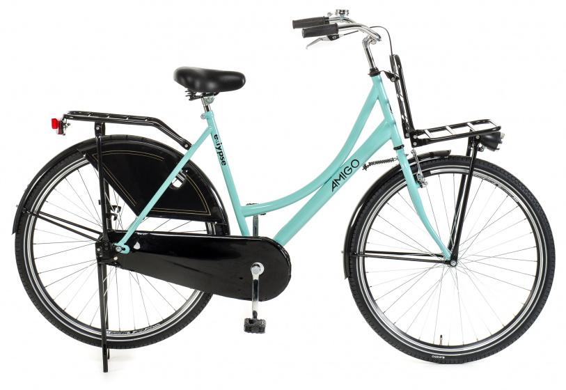 Amigo Eclypse Transportfiets 28 inch Omafiets met voordrager Turquoise/Zwart online kopen