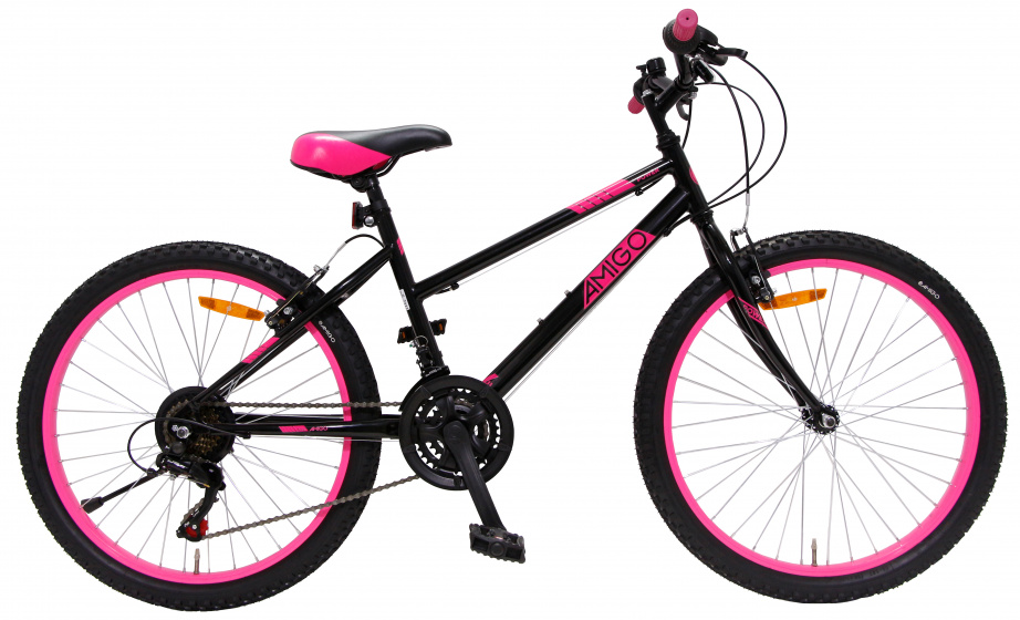 AMIGO Power 24 Inch 38 cm Meisjes 18V V Brakes Zwart/Roze