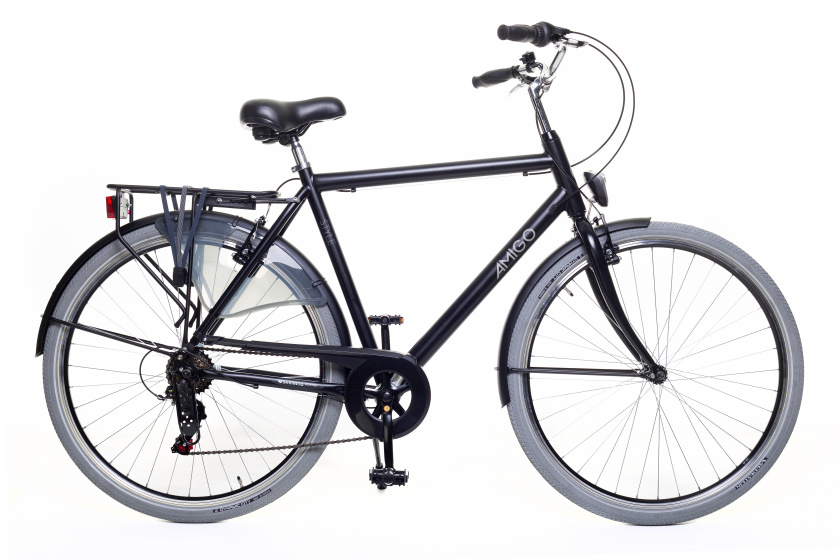 AMIGO Style 28 Inch 50 cm Heren 6V V Brakes Zwart-Grijs