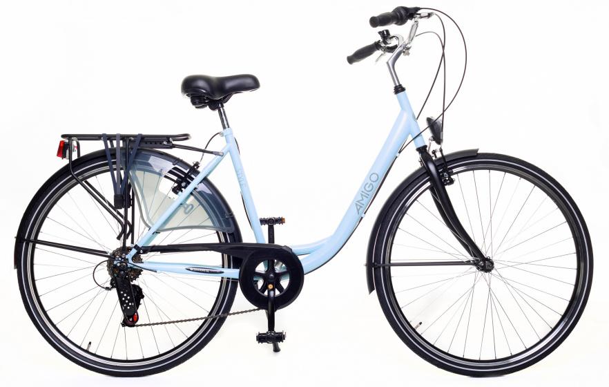 AMIGO Style 28 Inch 56 cm Dames 6V V Brakes Lichtblauw