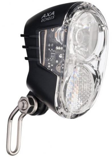 AXA koplamp Echo 15 lux led naafdynamo/fietsaccu voorvork zwart