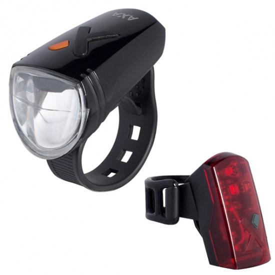 AXA verlichtingsset led batterij greenline usb oplaadbaar 50 lux voorlicht + 2 led achterlicht