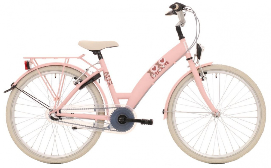 Bike Fun Lots of Love 26 Inch 43 cm Meisjes 3V V Brakes Roze/Wit