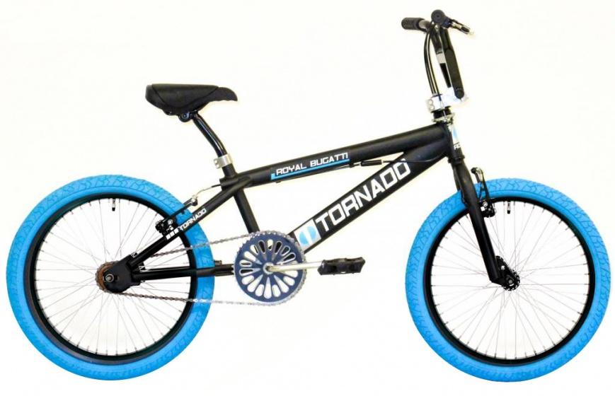 Bike Fun Tornado 20 Inch 55 cm Unisex V Brake Matzwart/Blauw