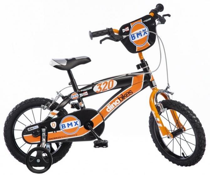 Dino BMX 14 Inch 23 cm Jongens Knijprem Zwart/Oranje