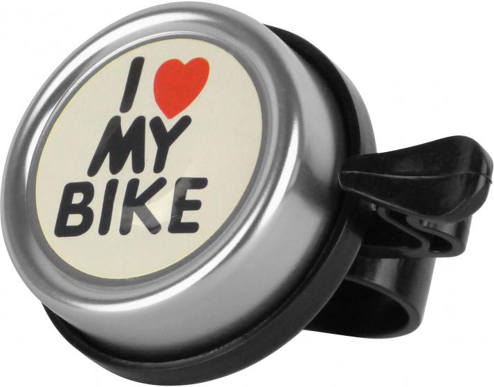 Dresco fietsbel I Love My Bike jongens staal zilver/zwart