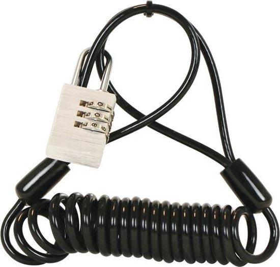 Dresco spiraalslot 150 cm RVS/rubber zwart 4 delig