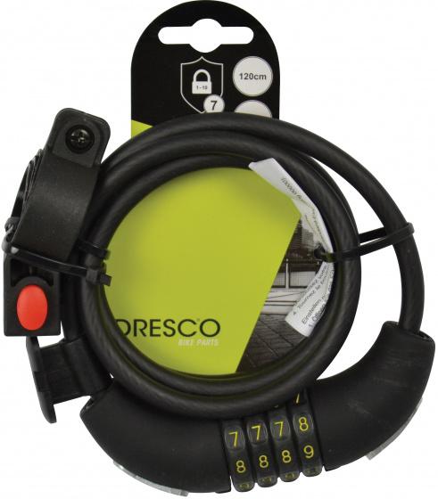 Dresco spiraalslot 15,2 x 17,5 cm RVS/rubber zwart 2 delig