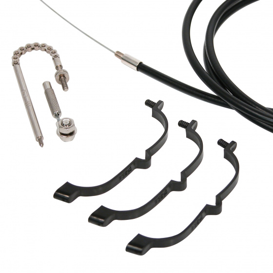 Dresco versnellingskabelset zwart/zilver 4 delig
