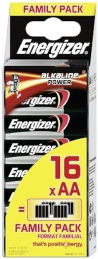 Energizer power alkaline batterijen aa- lr06- e91 family pack 16 stuks