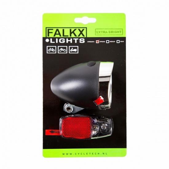 falkx verlichting set led voorlicht achterlicht giga bikes tilburg. Black Bedroom Furniture Sets. Home Design Ideas