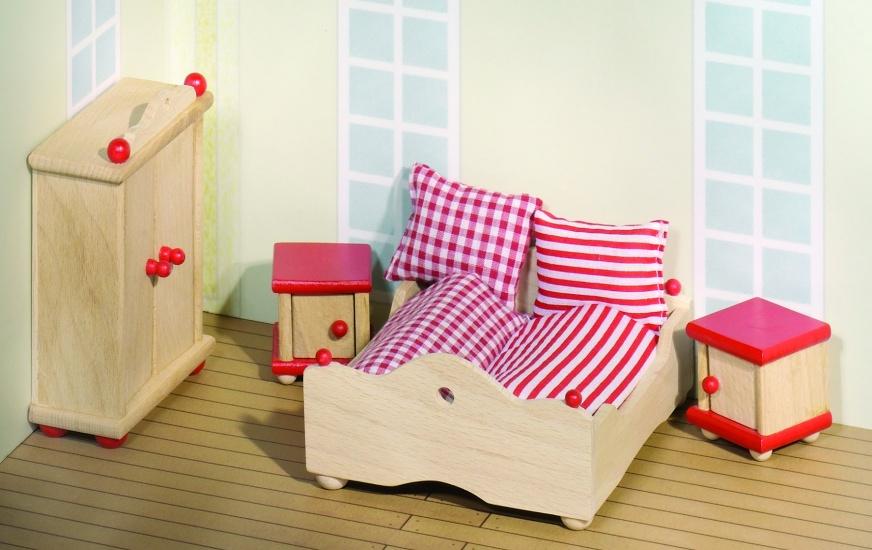 goki houten poppenhuis slaapkamer 4 delig