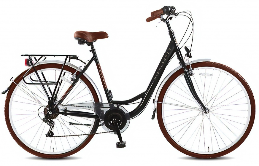 Highlander City 28 Inch 53 cm Dames 6V V Brake Zwart