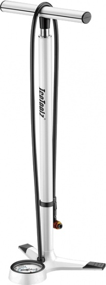 IceToolz fietspomp Extreme met manometer aluminium wit