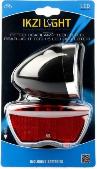 Ikzi Light verlichtingsset batterij Retro led zwart - Giga-Bikes Tilburg