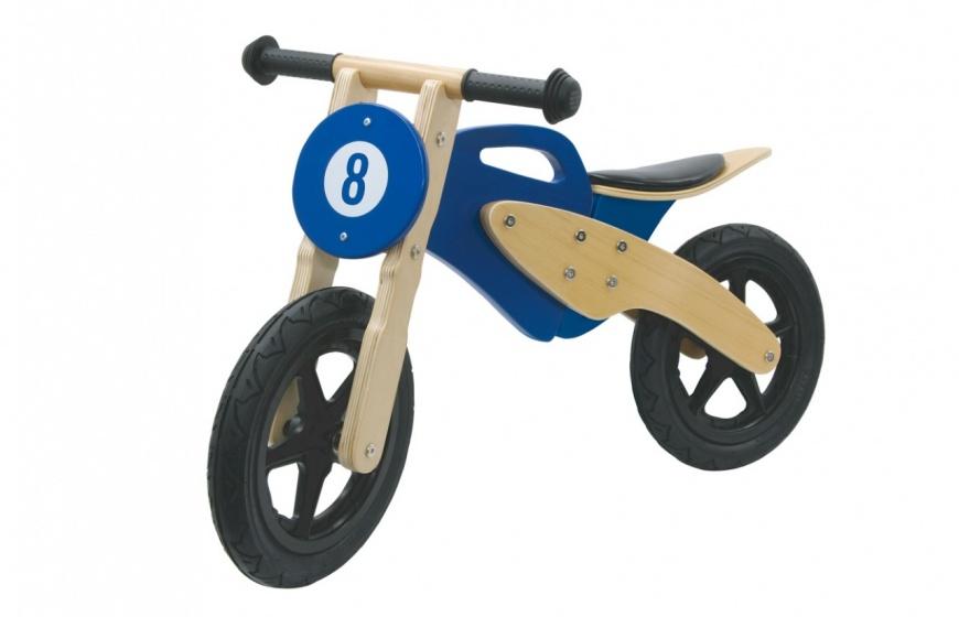 Push-Bike Wood Bike Bruin-Blauw