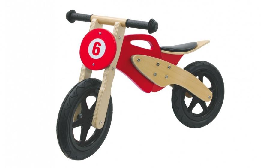 Push-Bike Wood Moto Bruin-Rood