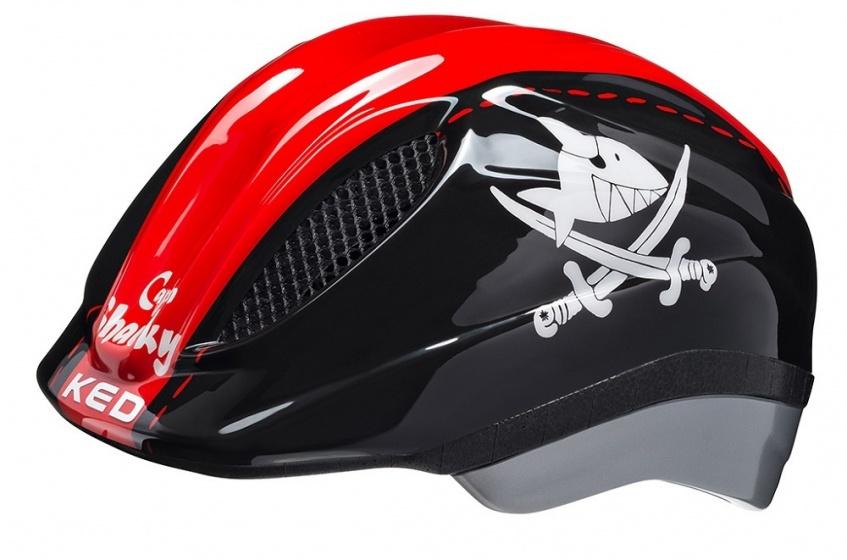 KED fietshelm Meggy Sharky jongens zwart/rood maat 46 51 cm